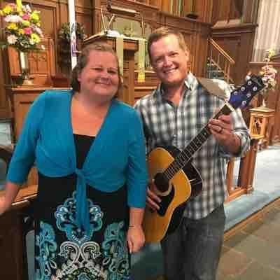 My husband and I after playing/singing in church.