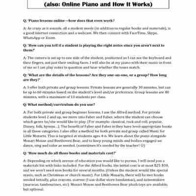 """""""Online piano--how does THAT work?"""" Here are my responses to that question. 😄 (page 1 of 2)"""
