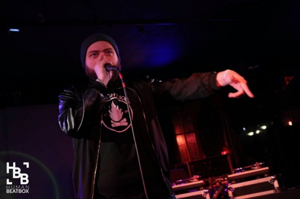 During my elimination round at the 2018 American Beatbox Championships.