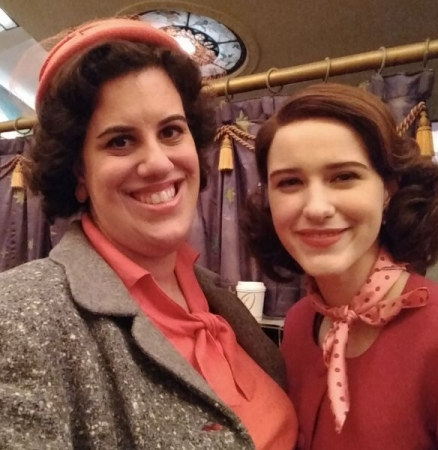 "With Emmy & Golden Globe-winning actress Rachel Brosnahan during filming of ""The Marvelous Mrs. Maisel"""