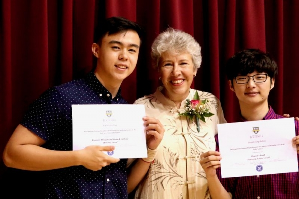 Presenting awards to a couple of my star students in South Korea.