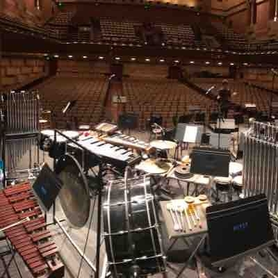 Crazy percussion set up for UCLA concert in Royce Hall