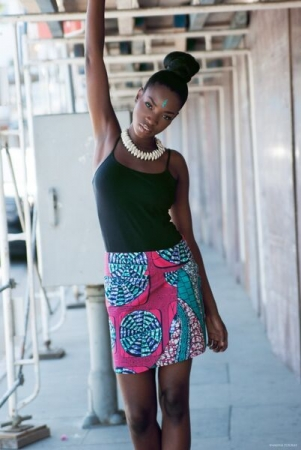 Faux wrap skirt made from African print fabric.
