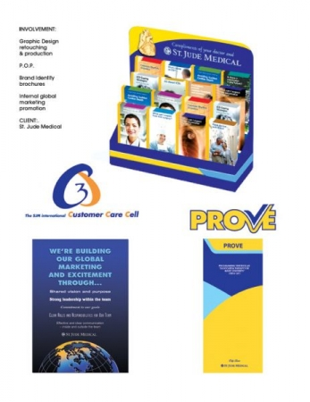Medical P.O.P, International corporate logo for Customer Care Cell. Product branding for Prove, logo and brochure