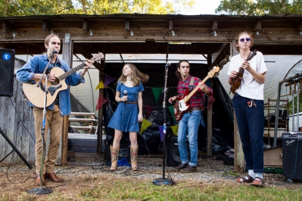 Playing with my bluegrass collective, The Afternoon Raccoons