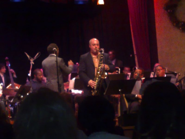 Soloing with the Roy Hargrove Big Band on tour in the South Of France.