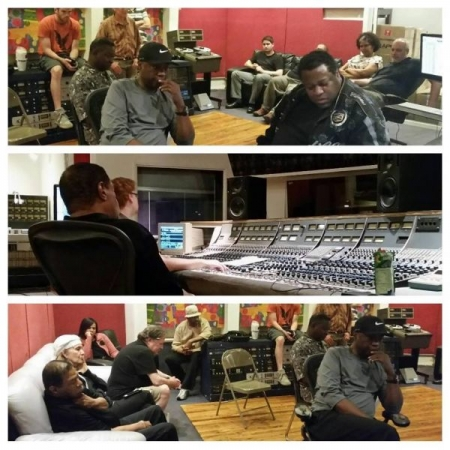 In the recording studio with Wallace Roney, Lenny White, Buster Williams, Steve Turre, Andrea Brachfeld, and a bunch more.