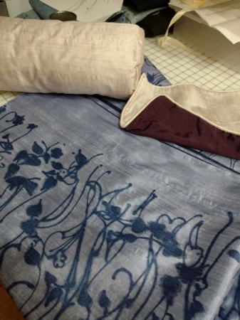 Some hand painted silk Shantung that was made into a throw and pillows.