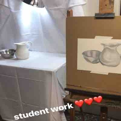Recent still life setup and student painting