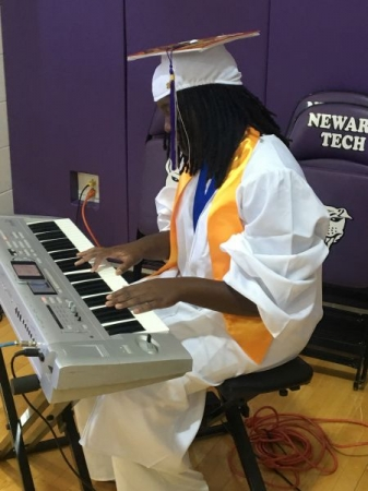 Playing the National Anthem and my high school graduation