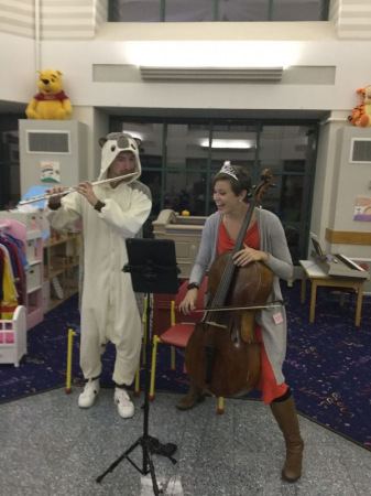 """Playing """"Baby Shark"""" for patients at a Chicago children's hospital with volunteer organization Sharing Notes"""