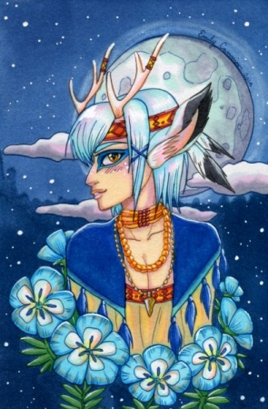 Moonflower Faun. Copic marker drawing 2019.
