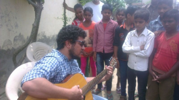 Giving a seminar on music and careers at a non-profit educational institute in India.