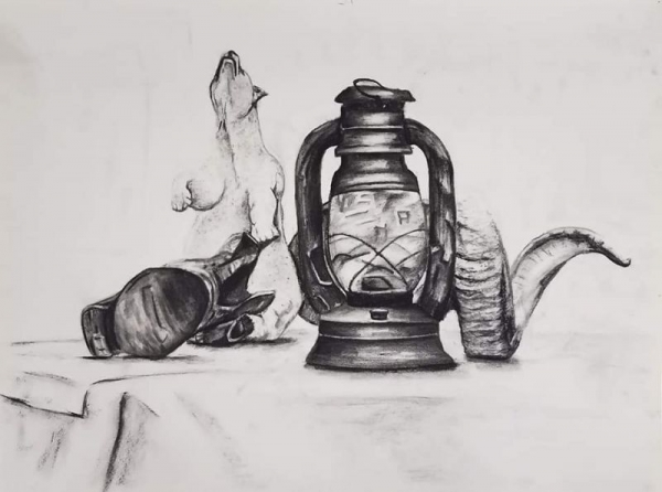 Charcoal Still Life by student