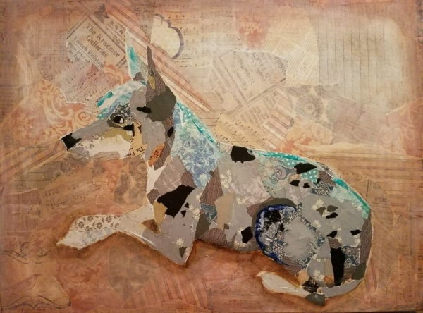 """Original Art by Kelsey Proffitt. """"Trampam"""", collage & mixed media on canvas, 16 x 20 inches, 2017."""