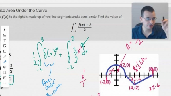 Working through a lesson of finding the area under the curve.