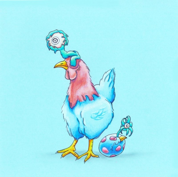 """""""Chicken and the Egg"""" - 10"""" x 10"""" colored pencil and ink illustration"""