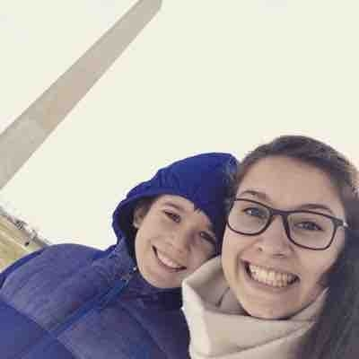 My former host boy and I being so happy to see the Washington National Monument in live for the first time!