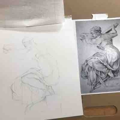 Student work at a drawing lesson