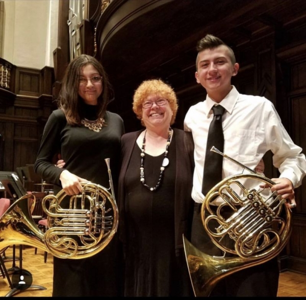 Me with my sister(left) and the director of Claremont Youth Symphony Orchestra, Cecilia Cloughly(center)