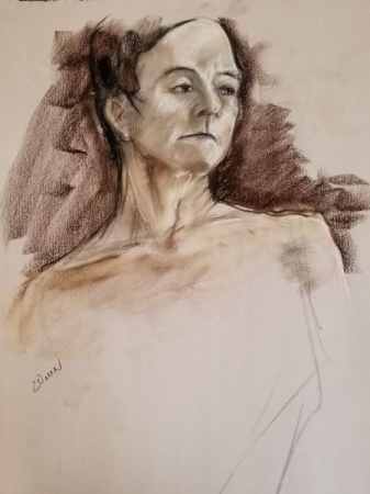 20 minute pastel drawing from model