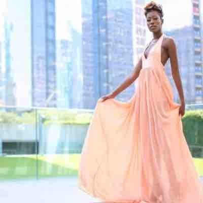 Peach chiffon and satin gown
