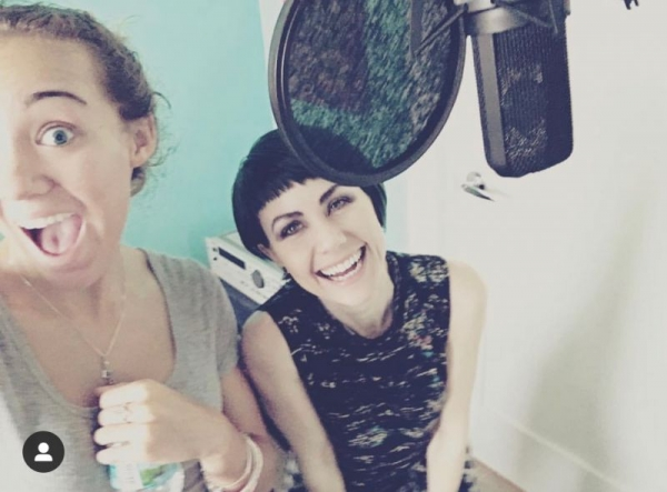 Always time for a little studio shenanigans! Recording background vocals with Jess :)