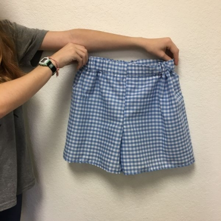 Fall 2018 homeschool student with self-drafted pajama shorts