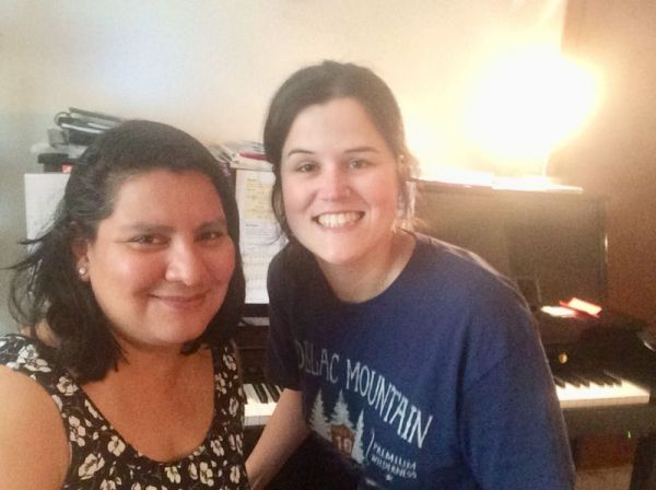 Stopping for a Kodak moment with a highly motivated adult piano student of mine