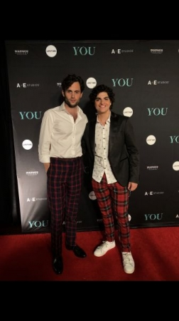 "Student, Gianni with star of Lifetimes ""You"" ; Penn Badgley"