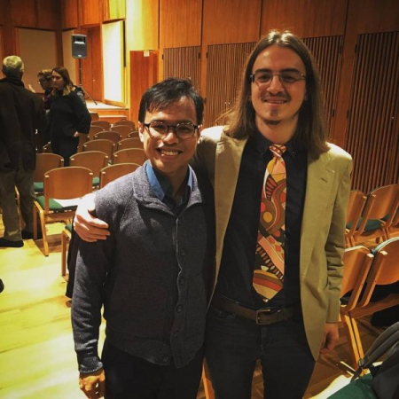 With pianist Jonathan Shin after the premier of one of my works for solo piano.
