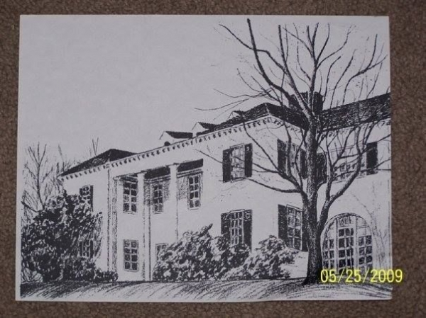 Commissioned drawing of a home in my county.