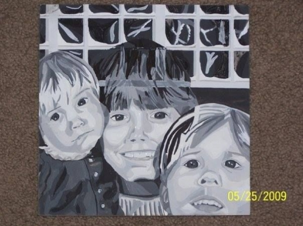 Acrylic painting based on a photo of me and my sisters.