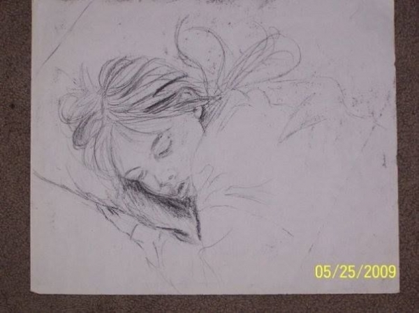 Quick sketch of my sleeping sister.