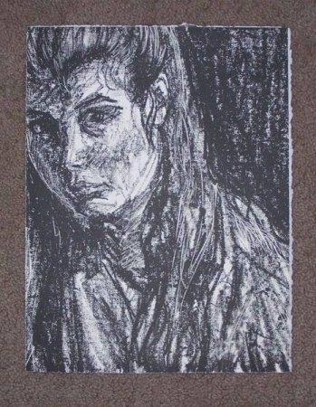 Lithographic print. Self-portrait (as a college student).