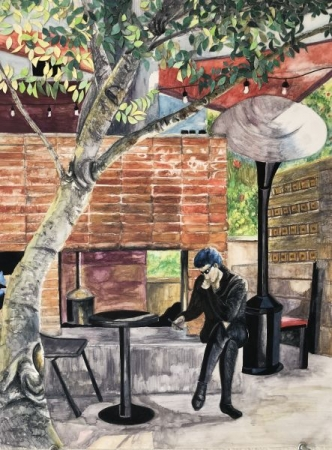 """Part of the Scenery: Postino Central, Watercolor Pencil & Ink, 22"""" x 17"""""""