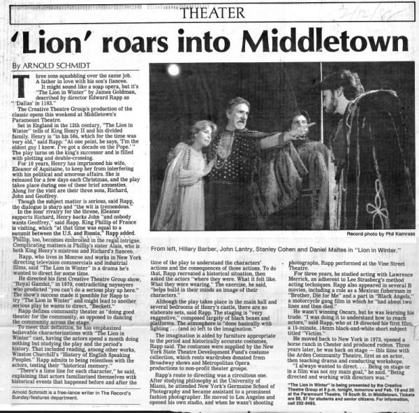 My production of Lion in winter.