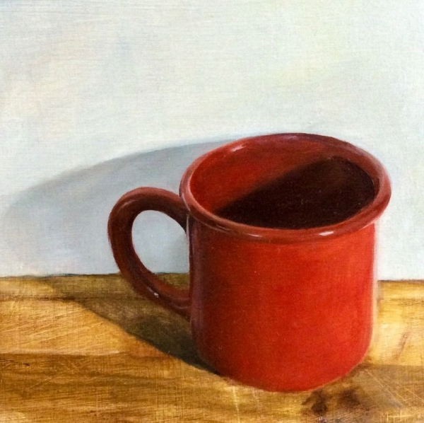 "This 5""x5"" still-life oil painting of mine depicts a red mug on a cutting board against a white wall."