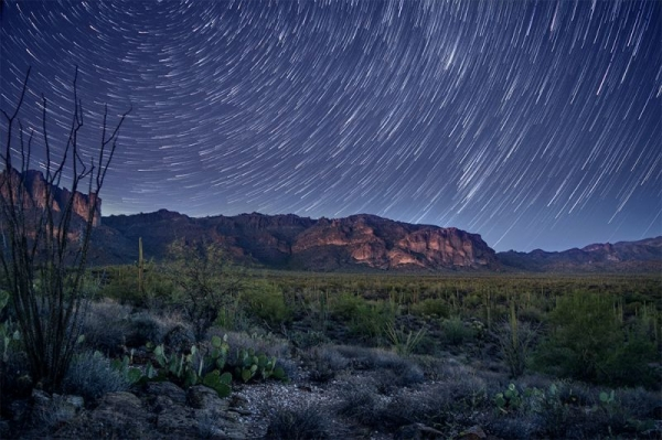 """Superstition Star Trails"" - Sample of 70 long-exposure images stacked in Adobe Photoshop to create star trails."