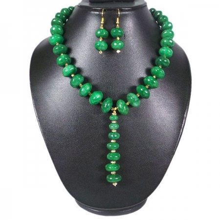 """Natural Green Emerald Beaded 17""""Necklace & 1.75"""" Earrings Jewelry Set"""