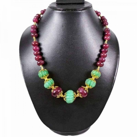 520Ct Natural Ruby Emerald Graduation Style Beaded Necklace W Floral Accessories
