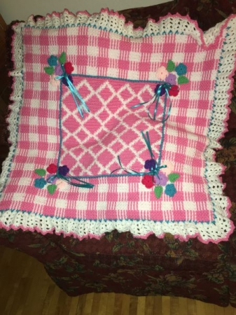 His/Her Gingham Baby Blanket.