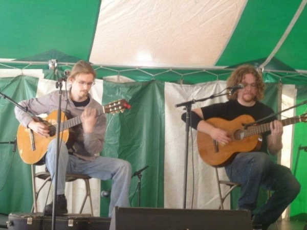 Performing on classical guitar