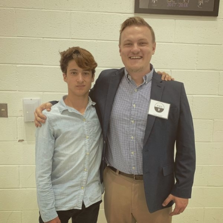 One of my students and me after a competition where he received superior marks on his singing. I was a judge but got to hear him nail it!