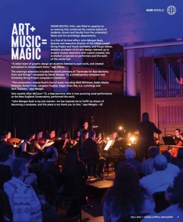 "Feature from UMass Lowell Alumni Magazine on ""Serenade."""