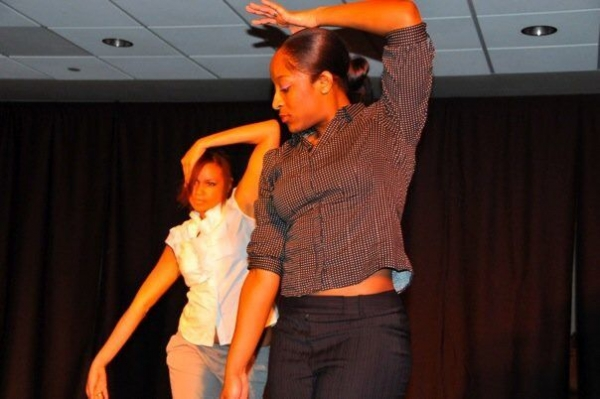 Performing at dance show in College