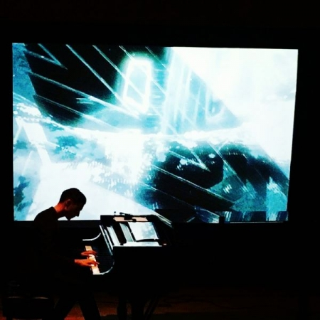 Performing with live video projection!