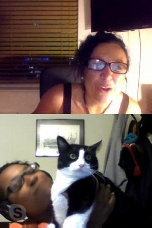 Spanish lessons with Stephanie and her cat.