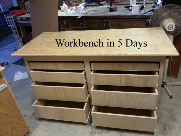 I built this workbench for one of my sons in 5 construction days.