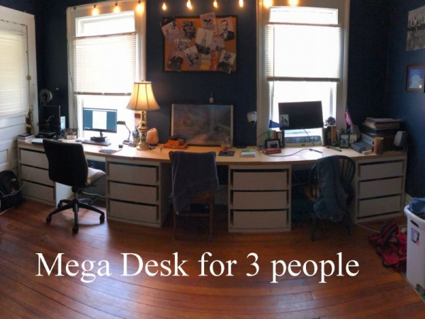 This a a mega desk with 4 cabinets, each with 3 drawers, that I helped one of my sons build.